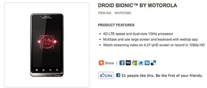 Droid Bionic, Motorola'nın sayfasında boy gösterdi, 8 Eylül'de piyasada