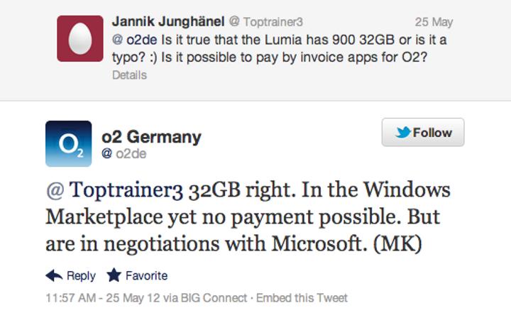O2 Almanya, 32GB Lumia 900 versiyonunu onayladı