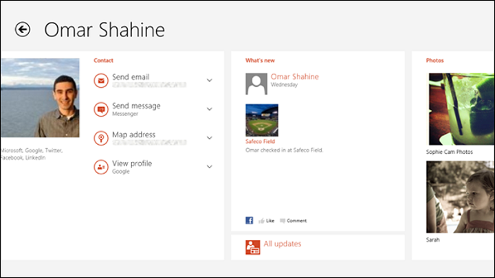 Microsoft, Windows 8'deki People uygulamasını detaylandırdı