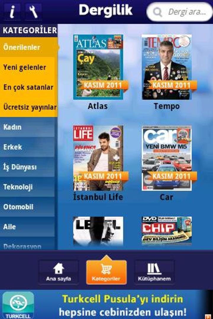 Turkcell Dergilik yeniden Android platformunda