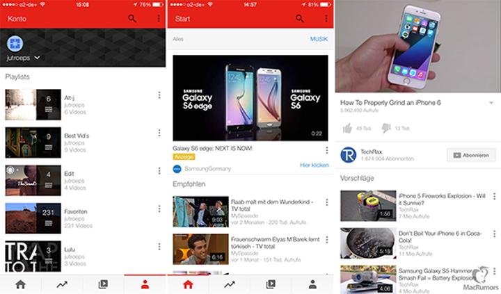 YouTube'un yeni iOS tasarımı için bir video yayınlandı