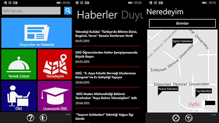 Windows Phone için Süleyman Demirel Üniversitesi uygulaması yayınladı
