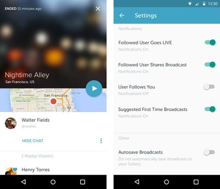 Android için Periscope güncellendi