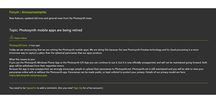 Microsoft, Photosynth uygulamasını emekliye ayırıyor