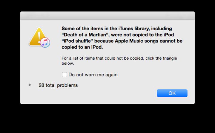 iPod nano ve shuffle modellerinde Apple Music çevrimdışı oynatma listelerinin senkronizasyonu engelleniyor
