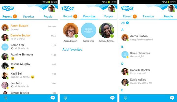 Android için Skype görsel olarak yenilendi