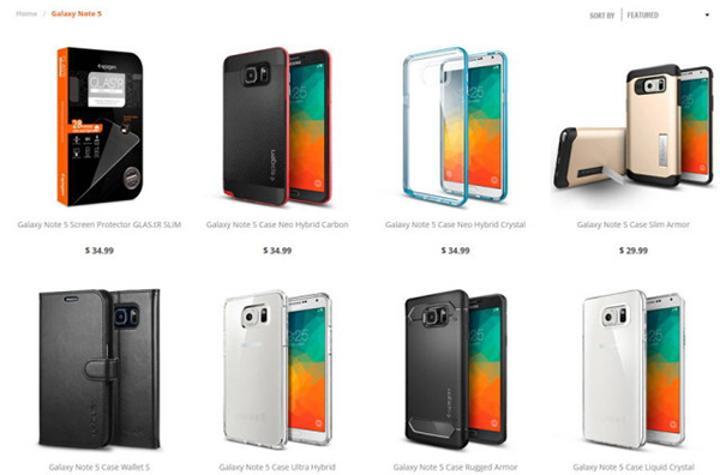 Spigen, Samsung Galaxy Note 5 için hazırladığı kılıfları sergiledi