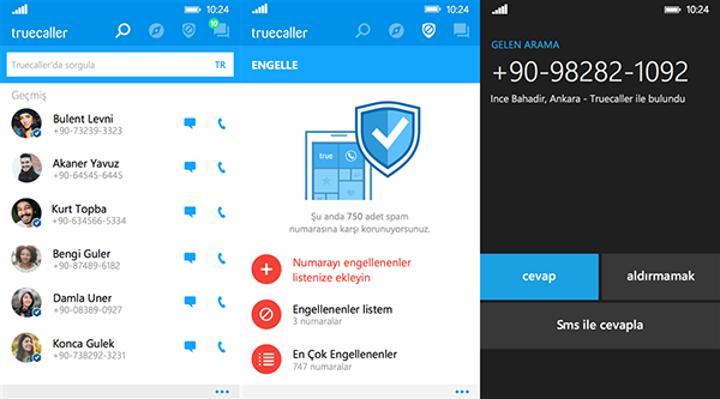 Truecaller'ın Windows 10 Mobil sürümü geliyor