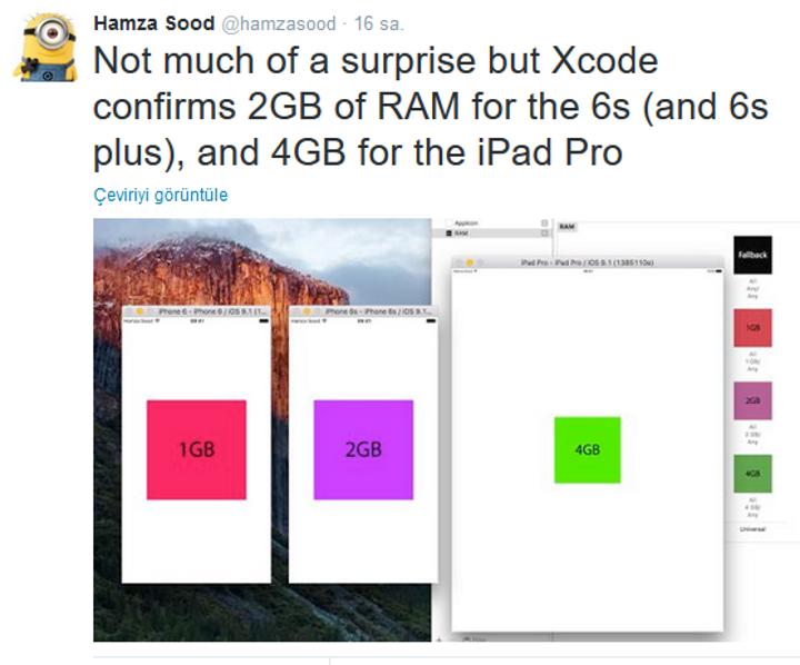 Apple iPhone 6s, iPhone 6s Plus ve iPad Pro Bellek Büyüklükleri Kesinleşti: 2 GB ve 4 GB