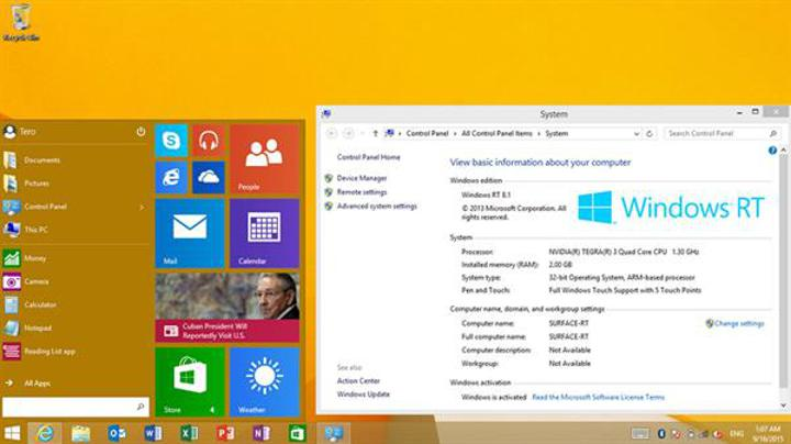 Microsoft yeni başlat menüsünü Windows RT sürümüne de ekleyecek