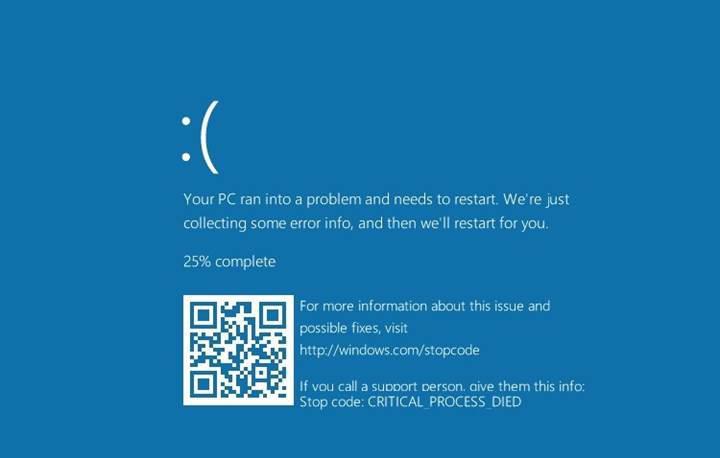 Windows 10'un ölümcül mavi ekranına QR kod eklendi