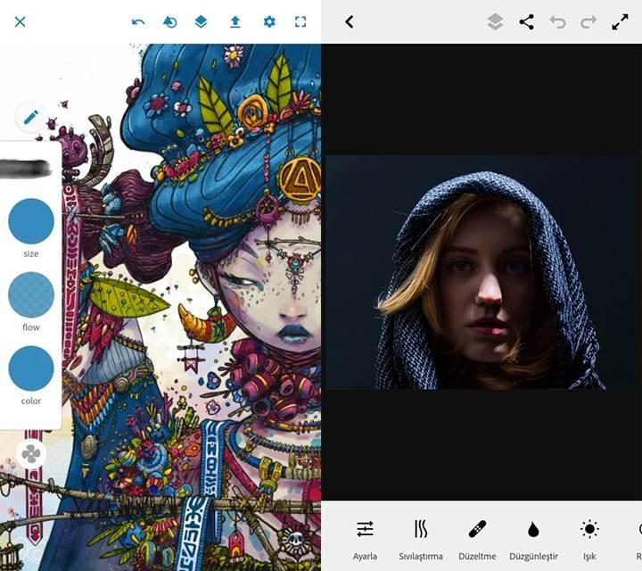 Adobe Photoshop Fix ve Sketch Android'de