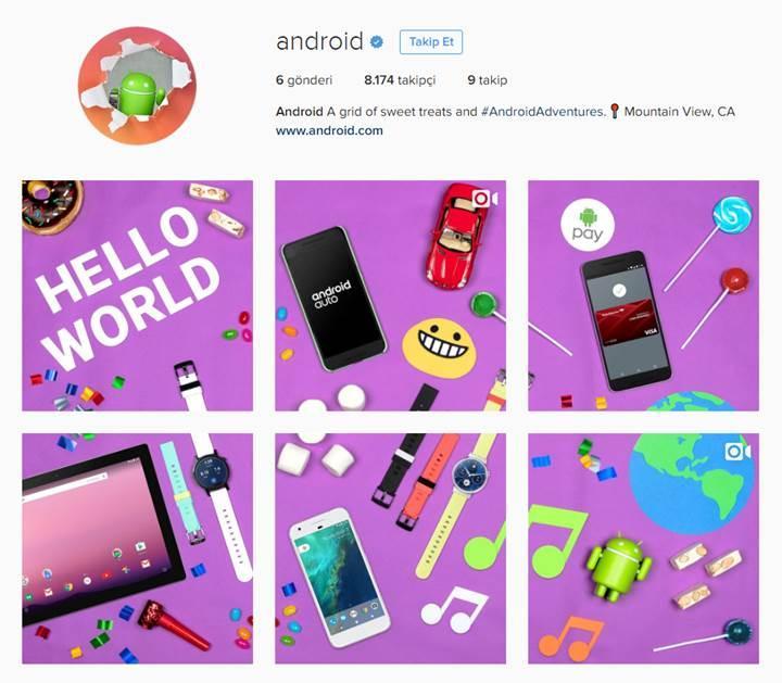 Android'in artık resmi Instagram hesabı var
