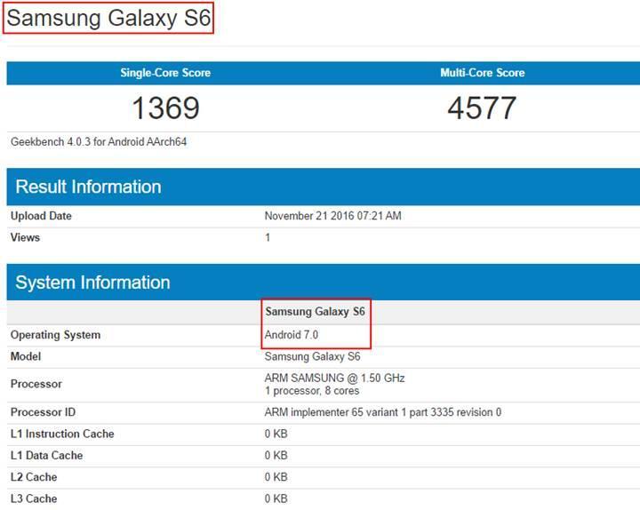 Galaxy S6 Android 7.0 Nougat ile testlerde gözüktü