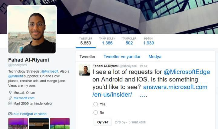 Microsoft Edge tarayıcısı Android ve iOS yolunda