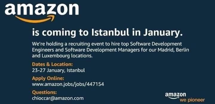 Amazon yeni çalışma arkadaşları bulmak için İstanbul'a geliyor