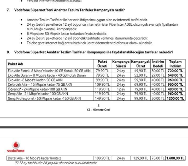AKN ve Kotada son durum: Vodafone'un kotalı tarifesi ve fiyatlar!