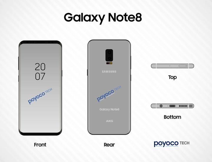 Samsung Galaxy Note 8'in tasarım eskizi ortaya çıktı