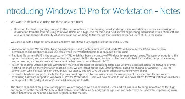 Microsoft iş istasyonları için özel bir Windows 10 sürümü hazırlıyor