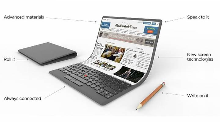 Lenovo katlanabilir ekrana sahip dizüstü bilgisayar konseptini sergiledi