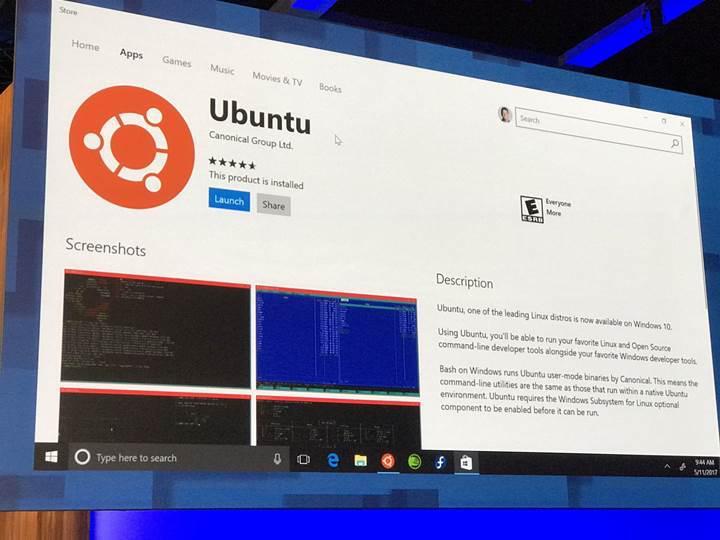 Ubuntu artık Windows mağazasında