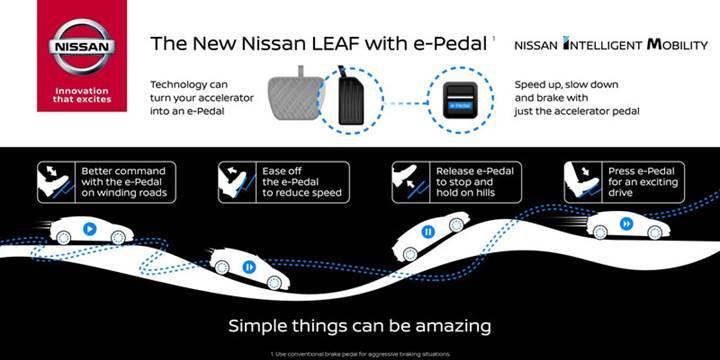 2018 Nissan LEAF tek pedalla sürüş deneyimi sunacak