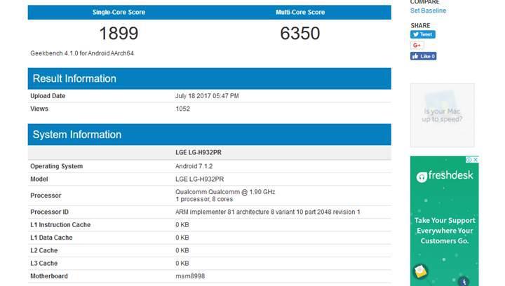 LG V30 benchmark testlerinde