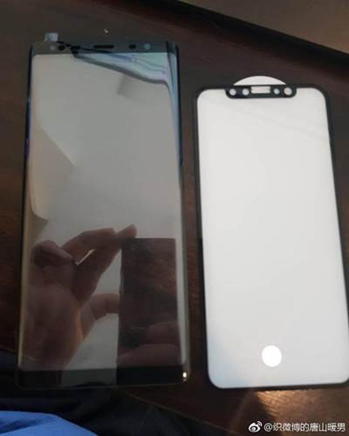 Galaxy Note 8 ve iPhone 8'in ekran panelleri aynı karede sızdı
