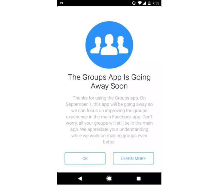 Facebook Groups uygulaması kapanıyor