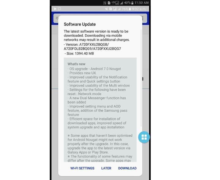 Samsung Galaxy A7 (2017) için Android 7.0 güncellemesi dağıtılmaya başlandı