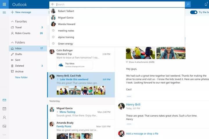 Outlook.com'un yeni tasarımı kullanıma açıldı