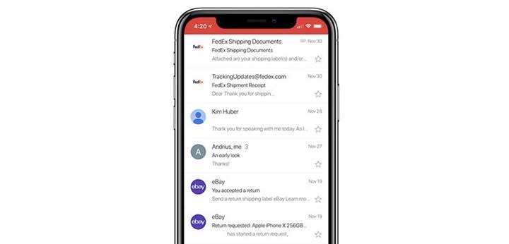 Gmail, iPhone X'un ekranını tam olarak kullanabilecek şekilde güncellendi