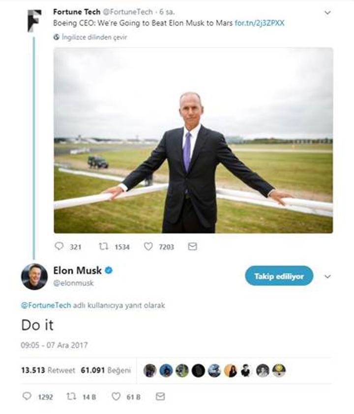 Boeing CEO'su Elon Musk'a meydan okudu: İşte Musk'ın cevabı