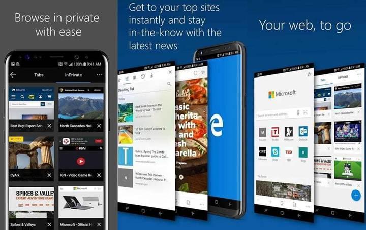 Microsoft Edge'in Android sürümü 1 milyon kez indirildi