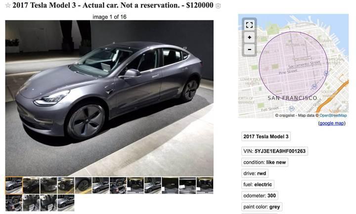 Tesla Model 3 karaborsaya düştü: 120.000$'a satılıyor