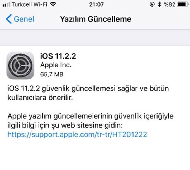 iphone 7 yazılım güncelleme bölümü yok