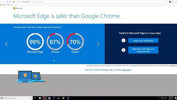 Microsoft, Opera'da Edge tarayıcısının reklamını göstermeye başladı