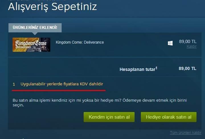 Steam'e KDV geldi!