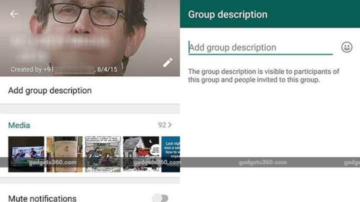 WhatsApp'ın Android versiyonuna grup açıklaması özelliği geldi