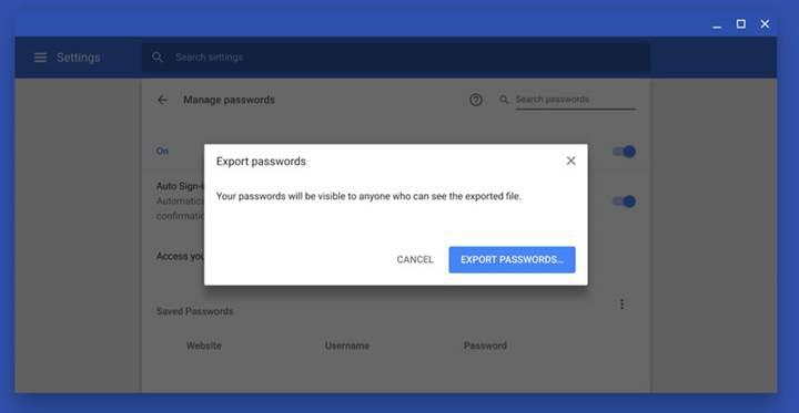 Google, Chrome'a kayıtlı tüm şifrelerin metin dosyasına kaydedilebileceğini duyurdu