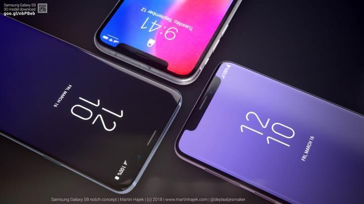 Samsung Galaxy S9'da çentik olsaydı nasıl görünürdü?