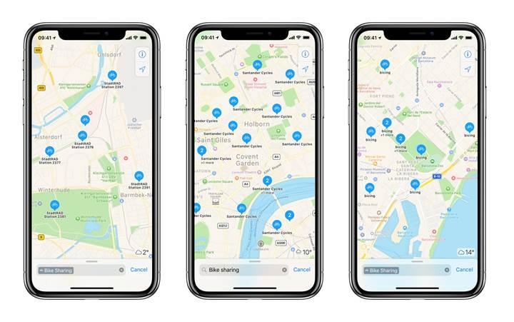 Apple Haritalar, ülkemizdeki bisiklet kiralama istasyonlarını gösteriyor