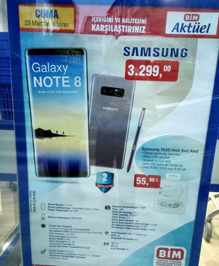 BİM'de bu kez 3299TL'ye Galaxy Note 8 satışı var