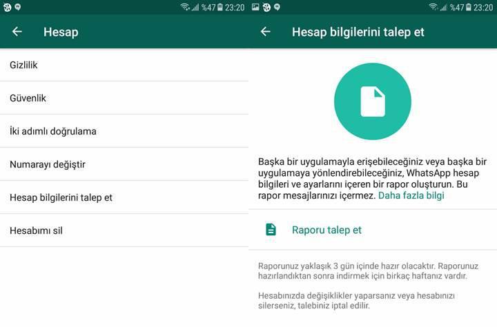 WhatsApp verilerinizi artık indirebileceksiniz