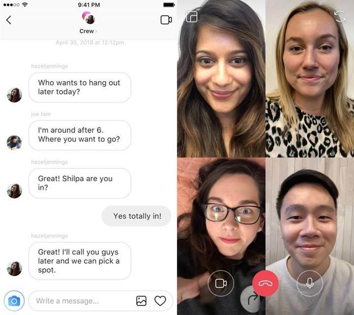 Instagram'a görüntülü görüşme geliyor