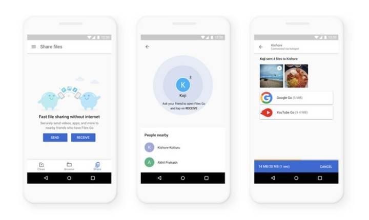 Google'ın Files Go uygulaması artık 490 Mb/sn hızla dosya aktarabiliyor