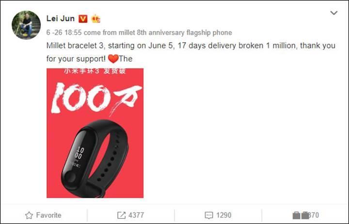 Xiaomi Mi Band 3, 17 günde 1 milyon adet sattı
