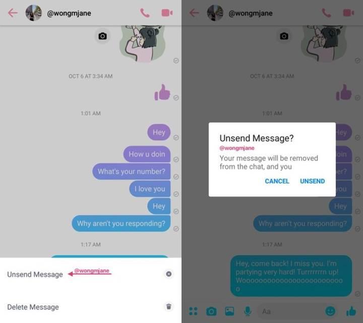 Facebook Messenger'a gönderilen mesajı geri alma özelliği geliyor