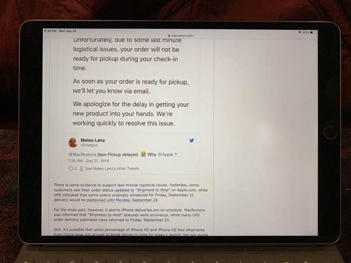 Bazı iPad Pro'ların ekranında parlak ışık hatası ortaya çıktı