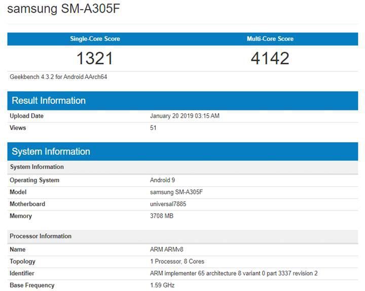 Samsung Galaxy A30 modeli Geekbench üzerinde ortaya çıktı